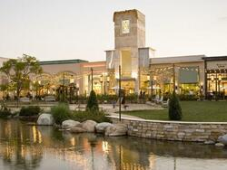 shopping plaza with pond