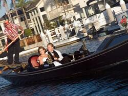 wedding couple sailing in a boat