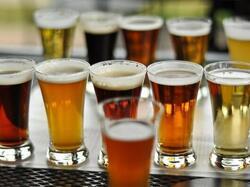 flights of beers on table