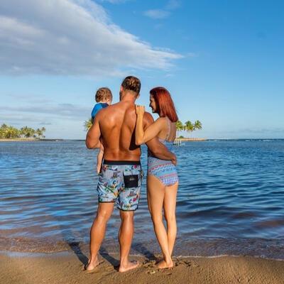 Family happy at the beach