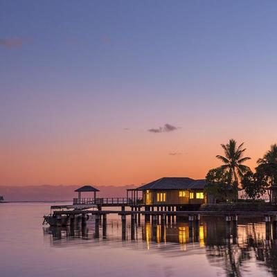 Overwater Vilas at Sunset at Warwick Le Lagon Vanuatu