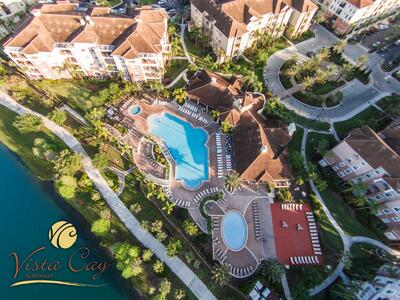 Aerial view of resort and pools