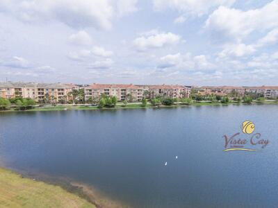 Aerial view of resort and lake