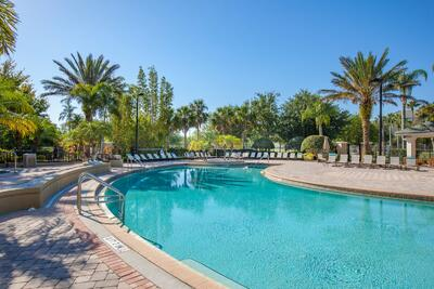 Pool with tropical landscaping