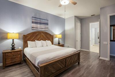 King bed and nightstand with lamp
