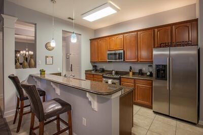 Kitchen and barstools at high countertop