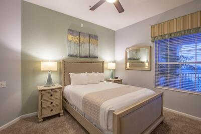 Guest bed and nightstand with lamp