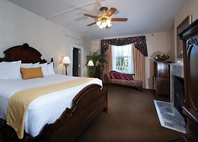 King bed in Roosevelt Suite at Hotel Colorado