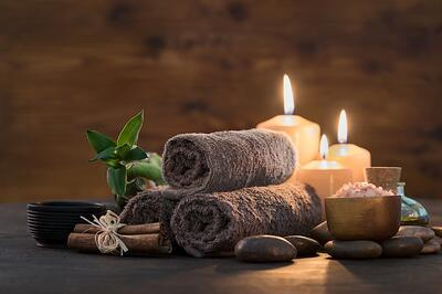 Spa towels and candles
