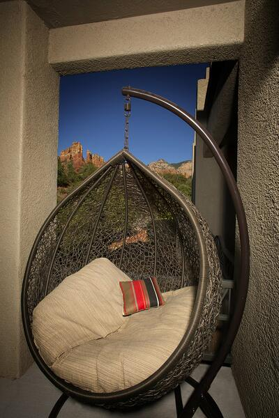 Hanging egg chair.