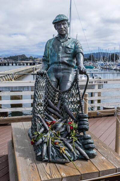 Fisherman's Wharf statue near The Monterey Hotel