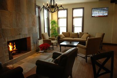 Resort Foyer with fireplace & cozy seating