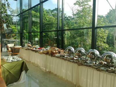 Buffet Bar con vista a la selva tropical
