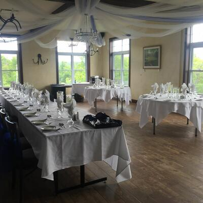 Wedding reception room with mountain views