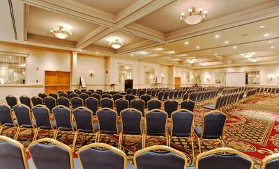 banquet room set up with chairs