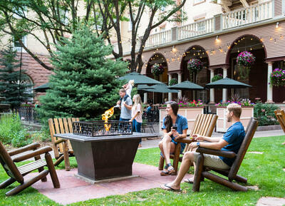 Guests enjoying the Hotel Colorado courtyard