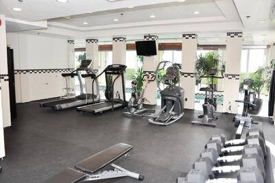 Fitness room with lake view.