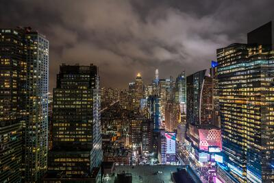 skyline of new york and times square