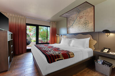 Courtyard suite with king bed.