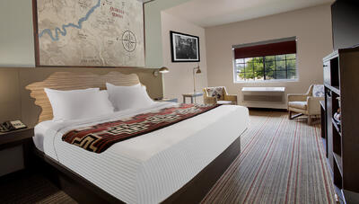 Standard hotel room with king bed.