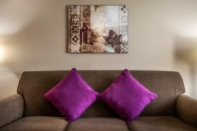 purple pillow detail on couch