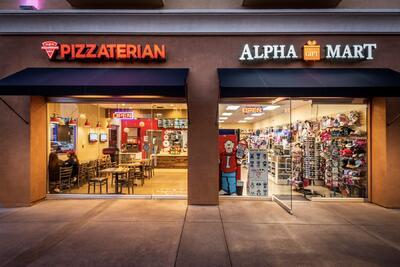 pizzaterian and alpha mart vendor entrances