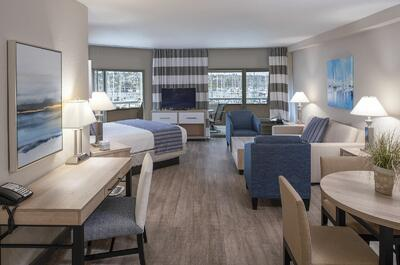 Spacious executive suite with partial view of the San Diego Bay