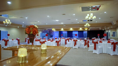 Event room decked out for large banquet.