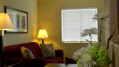 Resort suite living space.
