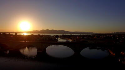 Sunrise over Lake Havasu and London Bridge.