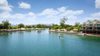 Wide photo of Lake Havasu.