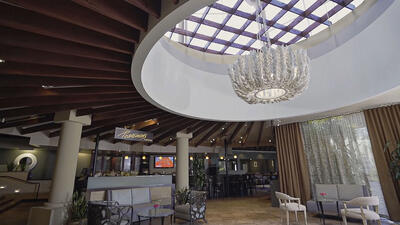 seating area with large chandelier