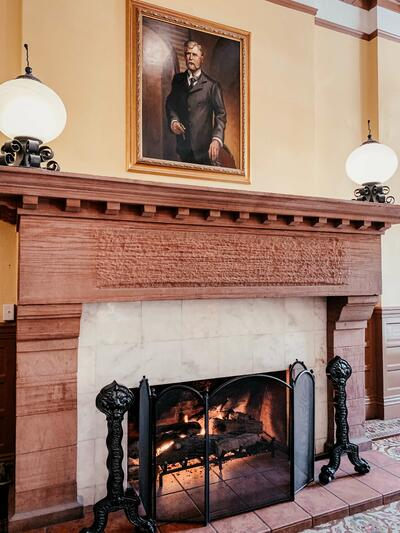 Lobby Fireplace in the Hotel Colorado