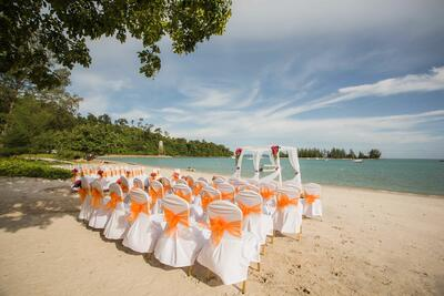 Wedding set-up on the beach