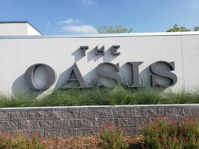 the oasis logo on wall