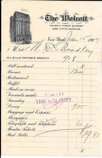 Hotel Wolcott Laundry bill from 1907