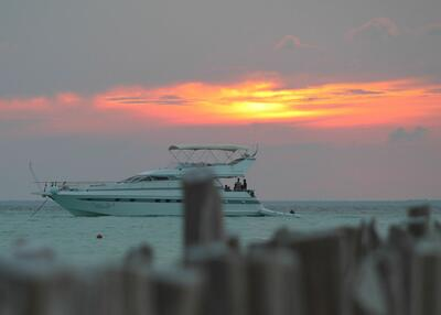 Boat during sunset