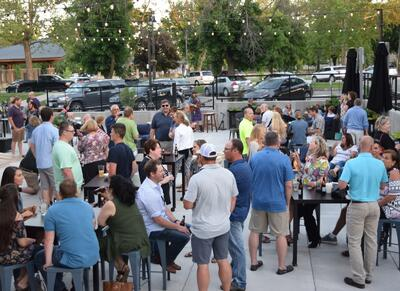 full patio of people