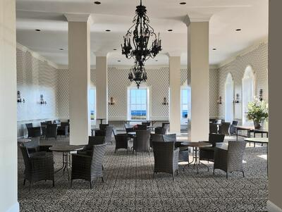 chairs and tables in a ballroom