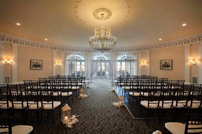 rows of chairs in a ballroom