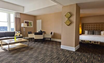 spacious area in a hotel room