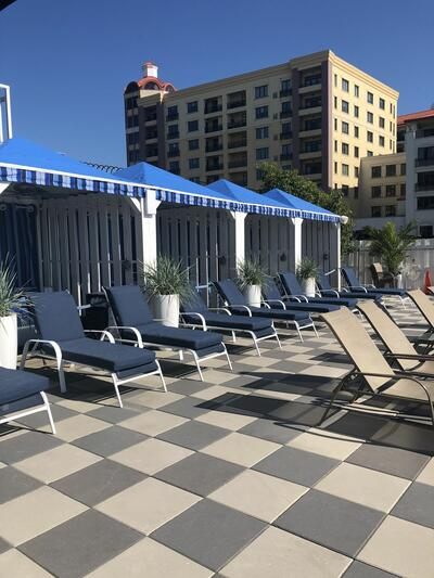 lounge chairs by a pool