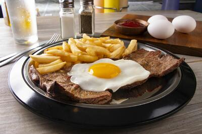 Beff Steak, eggs and fries