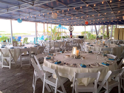 tables and chairs at in an outdoor wedding venue