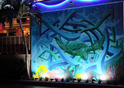 a mural of a sea turtle