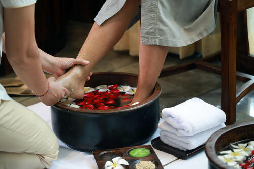 View of a feet pedicure at Peppers Seminyak