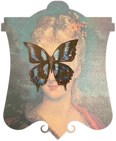 a painting of a woman with a butterfly on her face