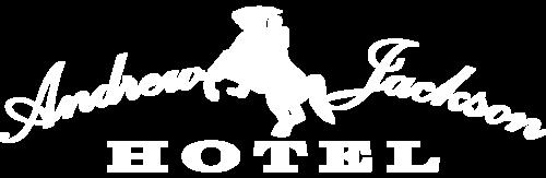 Logo of Andrew Jackson Hotel in white