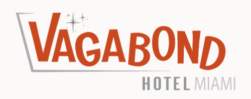Vagabond Hotel Miami Logo in Red with Stars in the background an