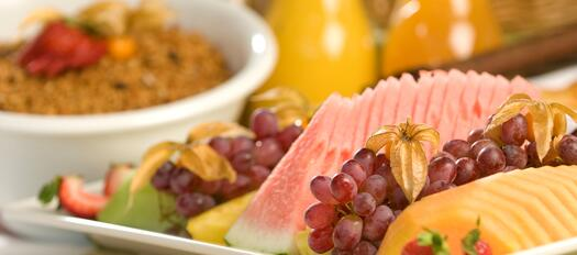 Fruit plate with grapes and melons